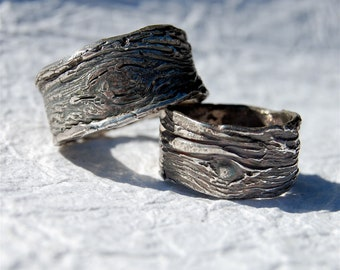 Rustic Wedding Bands SET of tree bark unique rustic rings Nature  modern rings eco-friendly Silver His and Hers Handmade Artisan Primitive