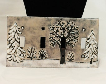 Switchplate snow scene Lightswitch cover Copper Enameled Lightswitch Cover snowy trees winter enameled copper quadruple toogle