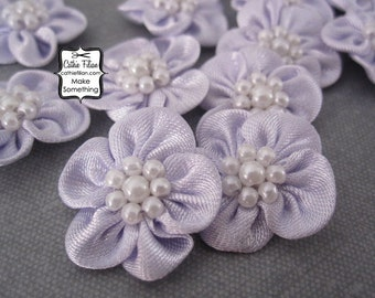 Purple Flowers - satin w/ pearl center - 12 pcs. Scrapbooking Embellishment - Baby Shower Favors