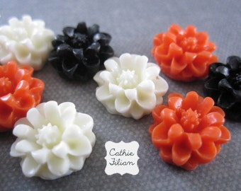 Halloween Resin Flowers - Black, Orange, White - Scrapbooking, Jewelry Design, Bobby Pin cabochon