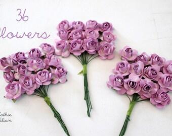 36 Light Purple Paper Flowers - small bouquet - weddings - favors - invitations - paper goods