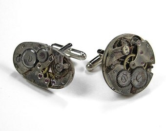 Steampunk Jewelry Cufflinks Nihilist Post-Apocalypse Vintage Watches INDUSTRIAL Mens Cuff Links AWESOME - Steampunk Jewelry by edmdesigns
