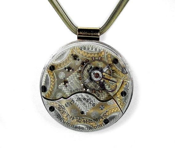 Steampunk Jewelry Necklace Vintage SETH THOMAS 2 Tone Etched Gear Pocket Watch Steam Punk Wedding Mothers Day BEAUTY - Jewelry by edmdesigns