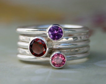 Sterling Silver Stacking Rings, Garnet Amethyst Pink Topaz Faceted Jewel, Stackable Set of 5 Rings, Stack Gemstone Ring, Statement Rings