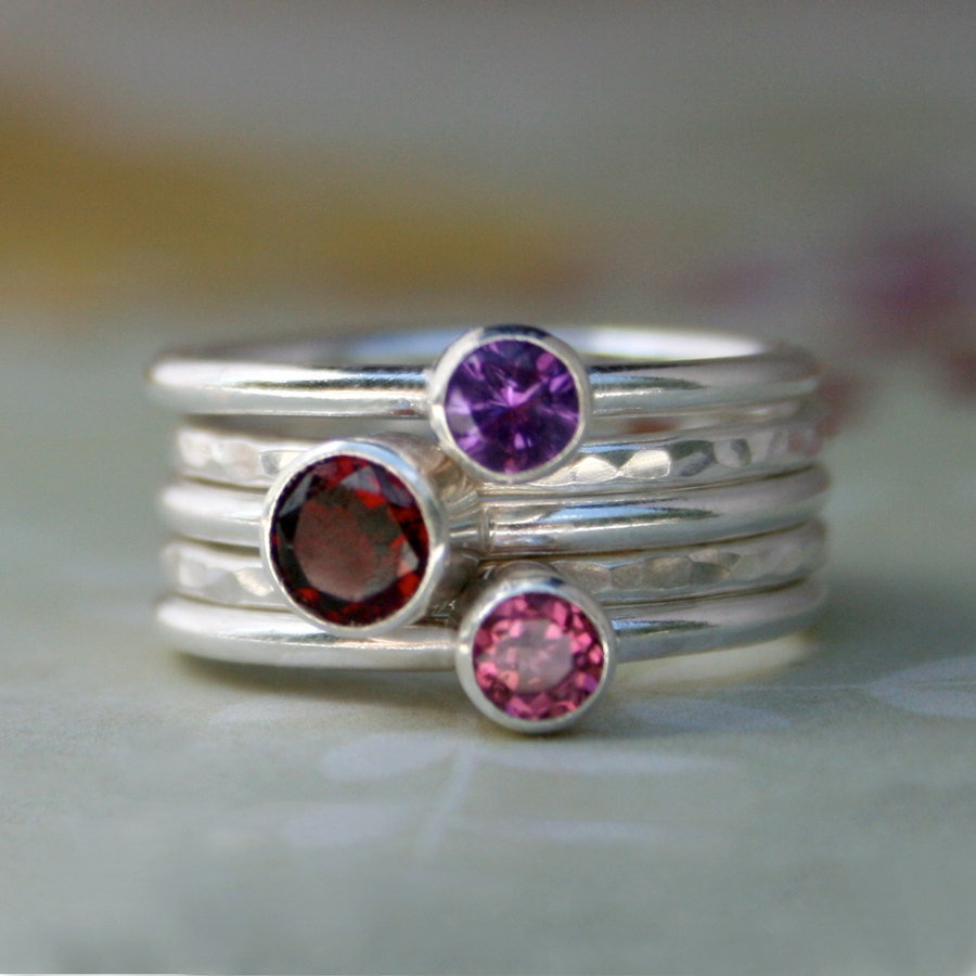 Garnet Ring Bands: Sterling Silver Stacking Rings Garnet Amethyst Pink Topaz