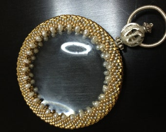 Magnifying glass wrapped with beadwork, handmade, wonderful gift