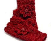 Ruby Red Crochet Fingerless Gloves with Flower, Red Texting Gloves, Cranberry Red Wristwarmers, GL114-01
