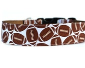Wide 1 1/2 inch Adjustable Buckle or Martingale Dog Collar in Footballs