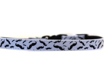 3/8 Wide Collar for Cat or Tiny Puppy in Mustaches