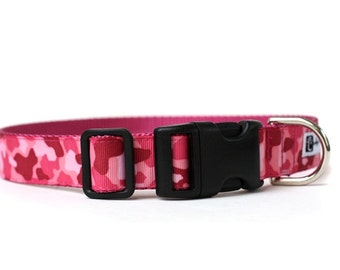 1 Inch Wide Dog Collar with Adjustable Buckle or Martingale in Pink Camo
