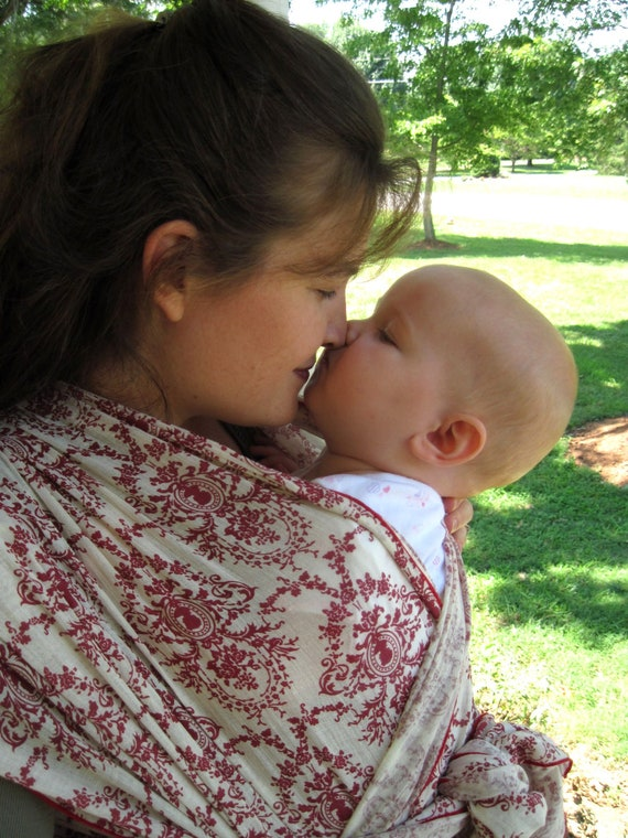 Baby Sling Woven Baby Wrap Carrier - Airy Cotton Gauze in red damask - NQP