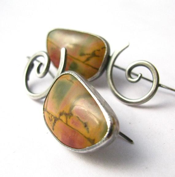 Picasso Jasper Earrings - Stone Jewelry - Artisan Metalsmith Jewelry - Jasper And Silver Earrings - Fall Fashion