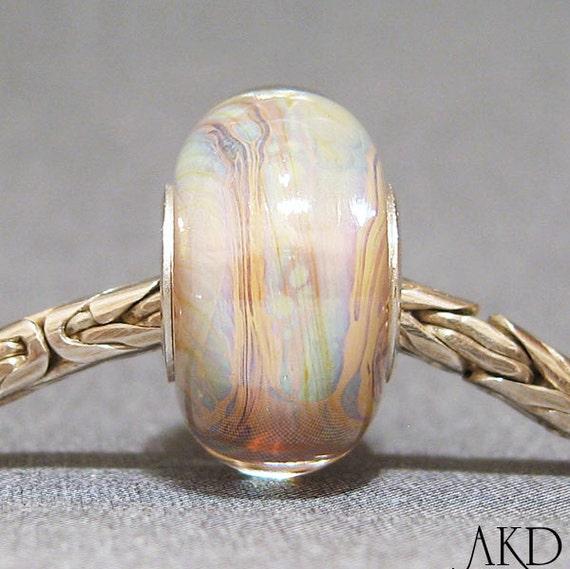 Handmade Lampwork Glass Bead Fits Trollbeads Troll Bracelet SRA OOAK Jewelry Euro Charm Pearly Shell