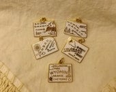 Vintage White Enamel State Charms-North Dakota & Kansas