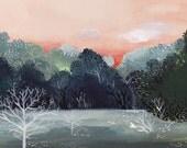 November Frost- Archival Print, frost, peach, mint, winter, landscape - amberalexander