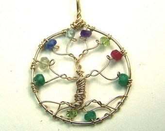 Gold Tree of Life necklace - Genuine Gemstones - small Pendant - 14 karat gold fill - Ruby - Emerald - Sapphire - Peridot - Amethyst