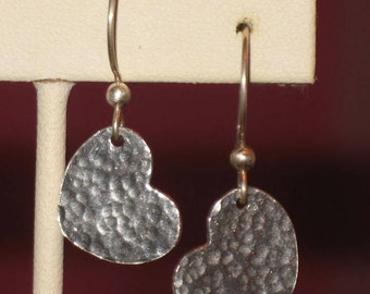 Fine Silver Hammered Heart  Dangle Earrings in Pink Hearts on Black Altered Match Box, Silver Hearts Handmade Earrings