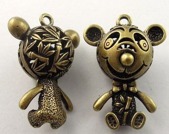 Teddy Bear pendants   puffy 3D antiqued bronze jewelry findings   e12  quantity 5