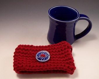Mug Cozy/ Mug Sweater with Handmade Pottery Mug and Clay Buttons