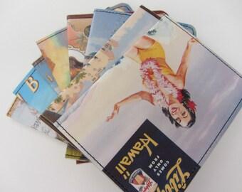 Slim Wallet- Hawaii Beach Advertisement Postcard- Choose 1