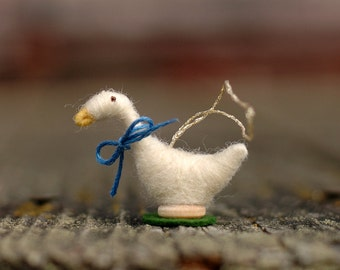 Needle Felted Goose Christmas Ornament