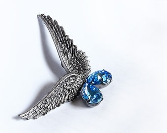 Αquamarine Swarovski crystal earrings Silver Wings Earrings Clip On Earring Wing Jewelry