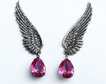 PINK Earrings Clip on drop Earrings Pink Swarovski Earrings SILVER Wing Ear Climbers Bridal Jewelry Pink