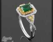 Engagement Ring, Tsavorite Garnet, Yellow Sapphire, and Diamond Ring  with Double Halo - LS632