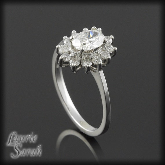 Diamond Flower Engagement Ring with Oval Cut Center Stone and Diamond Halo - LS358