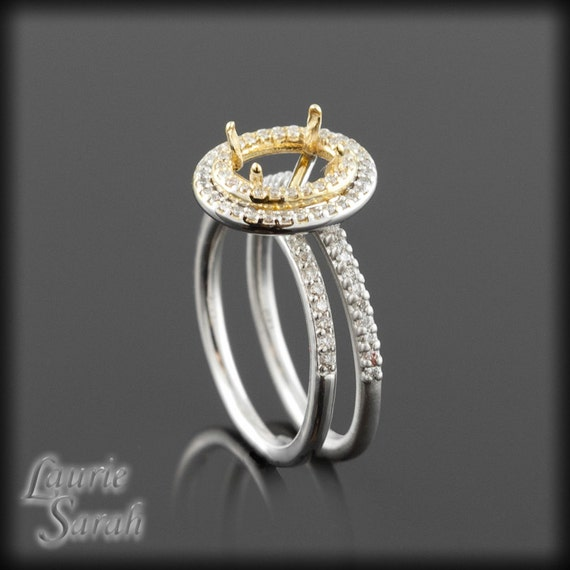 Engagement Ring, Diamond Double Halo Engagement Ring Semi Mount with Matching Wedding Band - LS1632
