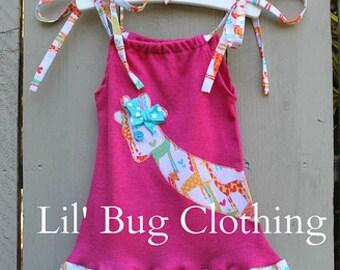 Custom Boutique Clothing Summer Spring Giraffe Hot Pink Comfy  Knit Giraffe Dress