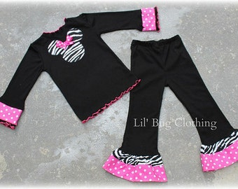 Custom Boutique Minnie Mouse  Zebra Hot PInk  White Polka Dot Tee and Pant