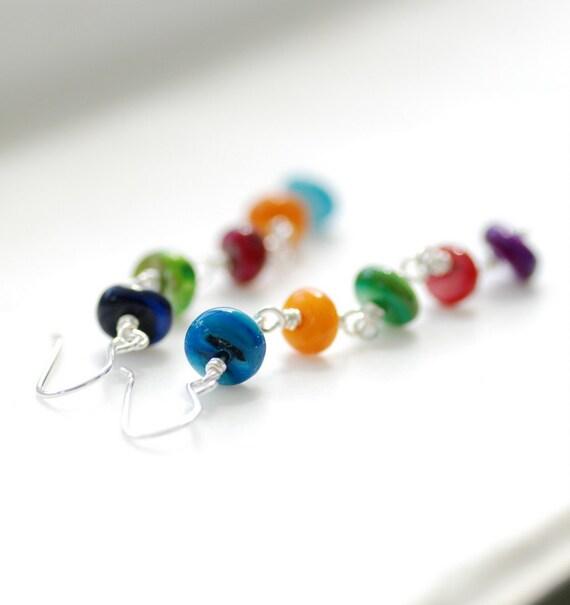 Shell Earrings, Rainbow Earrings, Fun Earrings, Colorful Jewelry, Statement Earrings, Long Dangle Earrings, Sterling Silver - Colorfall