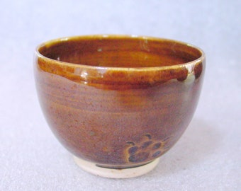 Amber Wheel Thrown Pottery Sake Cup or Tea Bowl