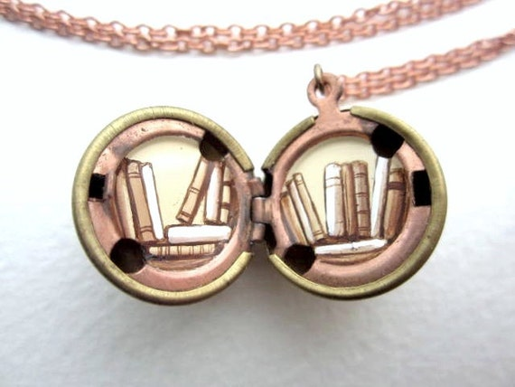 Library Locket Painted Pendant -Tiny Books Inside a Vintage Stock Brass Locket - Book Lover Gift