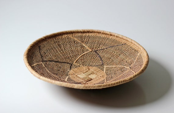 Round African Woven Basket Tray Wall Decor By Modishvintage