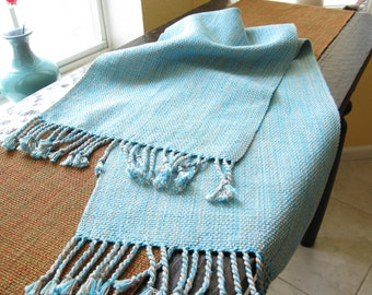 MADE TO ORDER HandWoven Table Runner Hand Woven Table Decor Beach Sand Blue