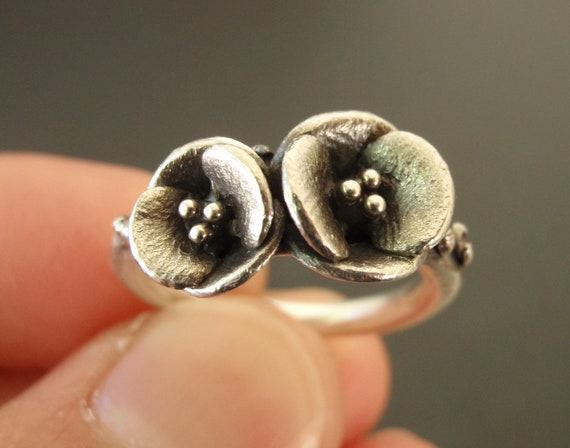 Two Poppies - Handsculpted, Cast Sterling Silver Ring - Ready to Ship (Sizes 6 to 6.5)