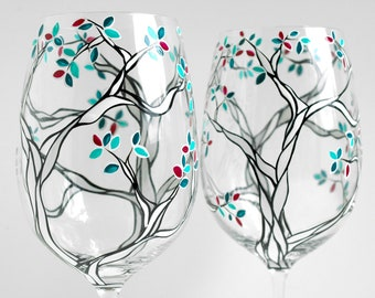 Klimt Trees with Custom Colored Leaves - Hand Painted Wine Glasses - Black and White Trees