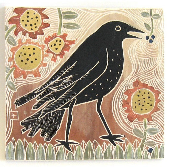 hand carved ceramic art tile late summer crow