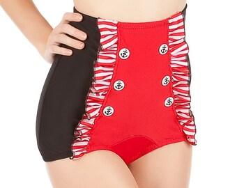 CATALINA Black and Red Retro Sailor Ruffled Bikini Bottoms Sizes S, M, L, XL