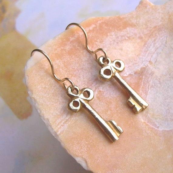 Key Earrings - Tiny - Brass - Hammered - Skeleton Key - Steampunk - Vintage Inspired - Rustic - Key Charms - Key Jewelry - Tiny Key Earrings