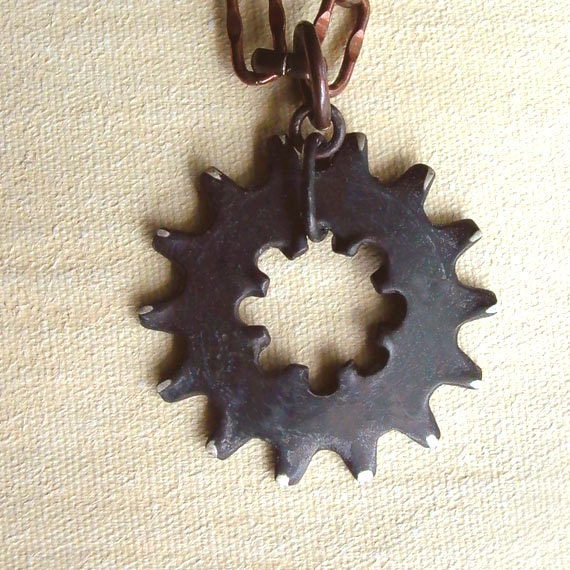 Gear Necklace - Black - Sterling Silver - Spiky - Oxidized - Rustic - Spiked Cogs - Unisex - Mens - Industrial Chic - Steampunk Gear