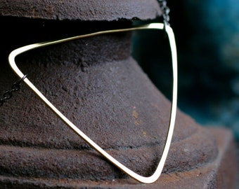 triangle necklace gold modern minimalist brushed brass simple gold triangle pendant wire geometric layering necklace GOLD TRIANGLE NECKLACE