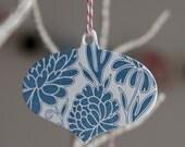 12 Letterpress Ornaments, Festive Floral