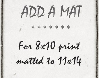Add A Mat Matting Service- Add An 11x14 Mat To Your 8x10 Print- White- In Stock