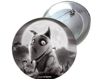 "1"" 1.25"" 2.25"" Pinback Button - Frankenweenie Tim Burtons - Sparky"