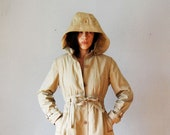 vintage PRINCESS trench /  wool lined 1970s HOODED spy coat