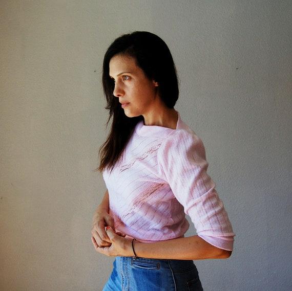 vintage CHEVRON top / 1980s PASTEL lace blouse