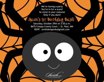 SALE:  Halloween Birthday Party Invitation - Birthday, spider web - printable party - digital